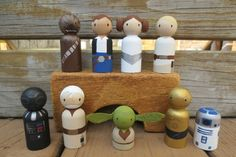 Hand-painted wooden Star Wars peg dolls by Wooly Llama
