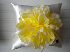 Yellow Peony Ring Bearer Pillow by DaniCalve on Etsy, $22.00