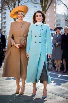 Queen Maxima of The Netherlands and Queen Rania of Jordan visit the Gemeentemuseum on March 20, 2018 in The Hague, Netherlands.