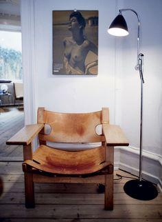 Børge Mogensen 'den spanske stol' og Bestlite gulvlampe