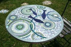 Mosaic round table for inside or outside by AnisCeladon on Etsy
