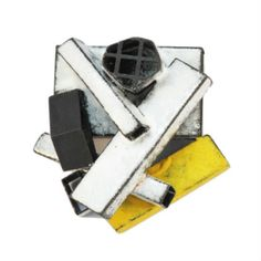 """KAT COLE BROOCH ZCOLE-83  $410.00     Brooch made of steel, enamel and found objects   2.5""""x2""""x1"""""""