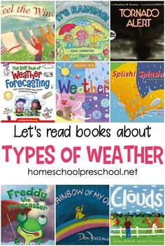 A Wonderful Collection of Weather Books for Kids 24 picture books about weather! Use these books to teach about all the different types of weather with fun stories and nonfiction books. Weather For Kids, Weather Activities For Kids, Weather Unit, Weather Book, Preschool Weather, Weather Crafts, Kindergarten Books, Preschool Books, Preschool Printables