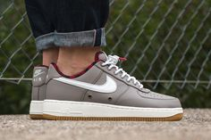 promo code 3acd3 4ee48 A grey leather upper and red black flannel inner liner are featured on this  new colorway of the Nike Air Force