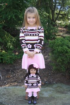 Pink and Brown Flower Knit Dress for Girl and American Girl or Bitty Baby Doll on weeline.com $45