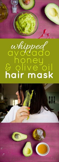 Whipped Avocado, Honey, and Olive Oil Hair Mask. Take the time to care for yourself!!