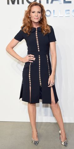 Robyn Lively was a total showstopper in this navy Michael Kors Collection dress with seemingly see-through panels and metallic detailing. The actress completed her look with sharp snakeskin Louboutins and mixed metal jewelry.