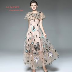 2017 Womens Maxi Dress Mesh Dress Butterfly Embroidery Evening Party Long Dresses With the big pendulum Net yarn splicing dress(China (Mainland))