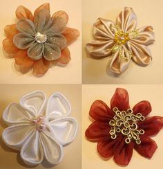 Kanzashi flower tutorial for fascinator