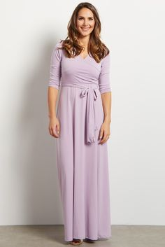 Lavender Draped 3/4 Sleeve Maxi Dress