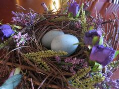 Purple Floral Bird Nest by TheHomemadeHobbies on Etsy