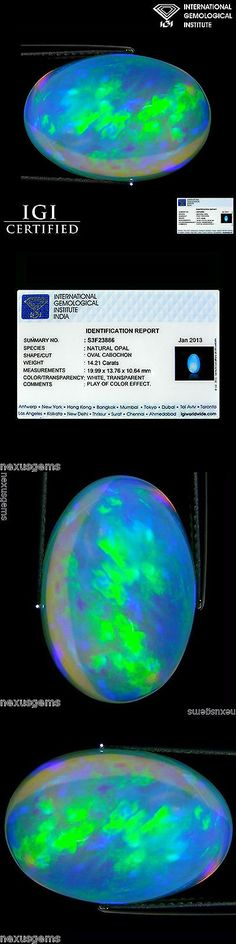 Other Opals 3826: 14.21 Ct Igi Certified Natural Ethiopian Opal Gemstone Oval Cabochon Cut -> BUY IT NOW ONLY: $1299.99 on eBay!