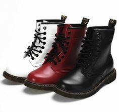 Кожаные ботильоны теплая осень Зимние Мотоцикл Ботинки женские Мартин снегоступы Boots девушку Обувь ботинки женские   женская зимняя обувь