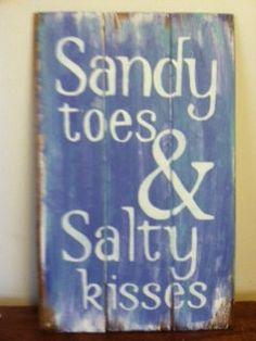 """Sandy Toes & Salty Kisses Beach Sign - Beach Decor - Beach House - Beach Theme - Coastal Decor - Hand Painted 10 1/2""""w x 16""""h hand-painted"""