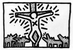 Een zeefdruk van Keith Haring uit de collectie van het Groninger Museum. (De afbeelding is ter beschikking gesteld door het Groninger Museum)