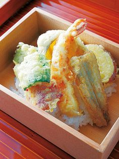Tendon(a bowl of rice topped with tempura). Japan