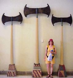 Giant axes recovered from an archeological dig
