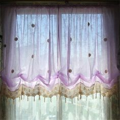 Light Purple Flower Shade Curtains – Color your kitchen Tie Up Curtains, Balloon Curtains, Blackout Curtains, Window Curtains, Purple Kitchen Accessories, Light Purple Flowers, Insulated Curtains, Curtain Lights, Small Windows