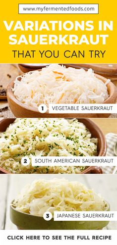 There are many different sauerkraut varieties. Some of them are vegetable sauerkraut, South American sauerkraut, and Japanese sauerkraut. Take a look at my article to learn more. #MyFermentedFoods #Sauerkraut #Recipes #Canning #Preserving #Fermentation #Cabbage #Salads #Fermenting Healthy Dinner Recipes, Whole Food Recipes, Vegan Recipes, Healthy Foods, Sauerkraut Recipes, Good Food, Yummy Food, Fermented Foods, Vegetable Recipes
