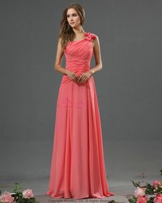 Most Popular New One Shoulder Chiffon Crinkle Coral Long Bridesmaid Dresses 2015