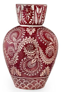 WILLIAM DE MORGAN RUBY LUSTRE VASE, CIRCA 1880 of shouldered form with a funnel neck, decorated with scrolling and stylised flowers, leaves and borders, indistinct impressed marks (cracked and repaired to neck) high Porcelain Ceramics, Ceramic Vase, Ceramic Pottery, Pottery Art, William Morris, Art Nouveau, Traditional Tile, Aesthetic Movement, Sgraffito