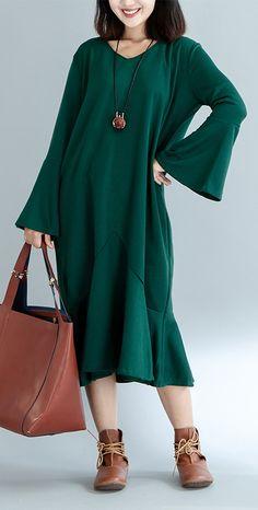 boutique green knit dresses oversized trumpet sleeves pullover women ruffles dress#knit#sweaterdress#sweaterdress#omychic