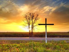 Cross and a Delta sunset near Leland, Mississippi - Mississippi Delta - Order prints from www.flatoutdelta.com -  © 2013 John Montfort Jones