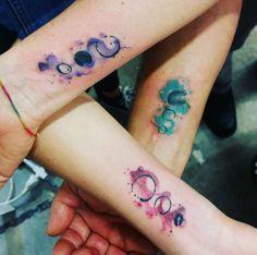 Best friend watercolor tattoos by Daniele Cugliara