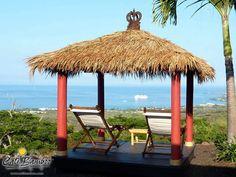 Tropical gazebo with Cali Bamboo palm thatch