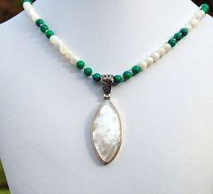 Mother of Pearl Azurite Malachite Pendant by RivendellRockJewelry