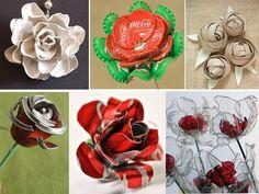 hacer rosas con material reciclado .Hay muchos materiales que puedes reutilizar para hacer rosas: cucharillas de plástico, chapas de botellas, rollos de papel higiénico, cápsulas de café, latas de aluminio o botellas de plástico.