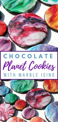 Chocolate Planet Cookies with Marble-effect Icing. These #planet themed #cookies with #marble effect icing are perfect for anyone whho loves space and the solar system. They would be great for a space themed birthday party or for celebrating #starwars day on May the 4th. #starwarsday #cookies #chocolate #chocolaterecipes #baking #kids #birthdayparty #space #planets #cookieart #biscuit