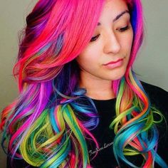 bright multi-colored hair color