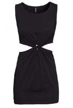 Black Sleeveless Cut-out Twisted Bodycon Dress