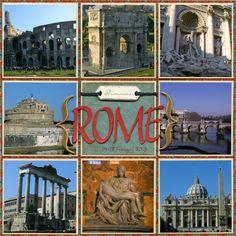 Rome, Italy Multi Photo Scrapbook Page Travel Scrapbook Pages, Vacation Scrapbook, Scrapbook Titles, Wedding Scrapbook, Scrapbook Designs, Scrapbook Sketches, Scrapbook Page Layouts, Scrapbook Cards, Scrapbooking Ideas