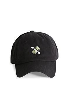 A dad cap by HatBeast™ featuring the flying money stack emoji embroidered on the front and an adjustable back with a brass stop.