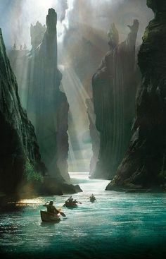 The Gates of Argonath - concept art by Craig Mullins for Lord of the Rings  (Slot canyons, Australia)