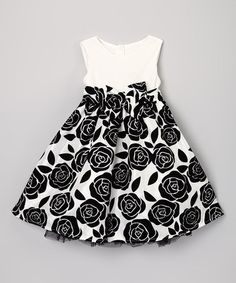 Take a look at this White & Black Rose Dress - Toddler & Girls by Sweet Charlotte on #zulily today!