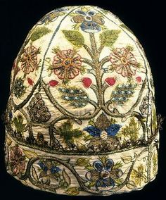 Elizabethan Polychrome Nightcap c.1600. Has a very unique design and many different colors