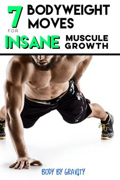 Bodybuilding How to grow insane muscle with these 7 bodyweight moves Full Body Bodyweight Workout, Bodyweight Strength Training, Weight Lifting Workouts, Body Weight Training, Workout Routines, Workout Motivation, Health Motivation, Cardio, Muscle Fitness