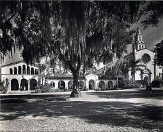 Annie Russell Theatre and Knowles Chapel at Rollins College. Love th black and white!