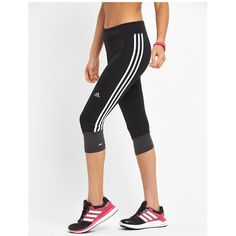 Adidas Response Three-Quarter Tight ($46) ❤ liked on Polyvore featuring activewear, activewear pants, adidas activewear, adidas and adidas sportswear