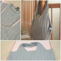 Deeply cut the shoulders of an old sweater. Cut the collar in the same way to form a deep U, then cross the edges with the sewing machine. Your ideal bag for everyday use! Old Sweater, Bag Making, Reusable Tote Bags, Sewing, How To Make, Diy, Clothes, Fashion, Outfits