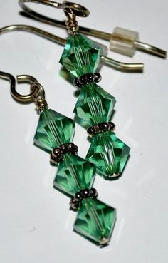 Green Tourmaline Swarovski Earrings 6mm by NutHouseCreations, $6.00
