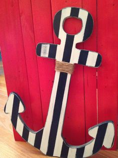 Nautical Striped Shabby Chic wooden anchor Nautical Home Decor.