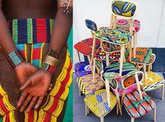 S'assoir en couleur OU les chaises wax en bois. / Chez Sandrine Alouf.