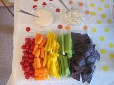 Rainbow veggie platter..blue chips are a great idea.