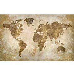 Worn, weathered, vintage world map in sepia tones wallpaper mural. Old World Maps, Vintage World Maps, Village Photos, Wallpaper Murals, Flags, Lounge, Home Decor, Mappa Mundi, Bedroom