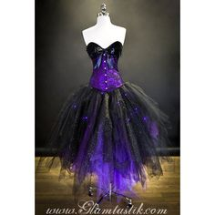 Custom Size Light up Purple and Black lace feather sparkle Burlesque... (555 CAD) ❤ liked on Polyvore featuring costumes, dresses, halloween, purple costume, vampire costumes, saloon girl, bar girls and beer maiden costume