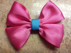 Pink Flat Boutique Bow With Blue Center by EsbeeEtsy on Etsy, $3.50
